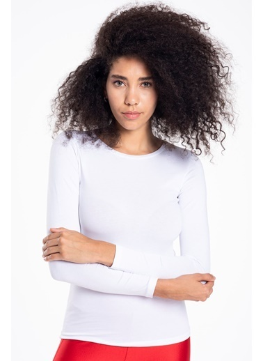 Tiffany&Tomato Bisiklet Yaka Uzun Kollu T-Shirt Beyaz